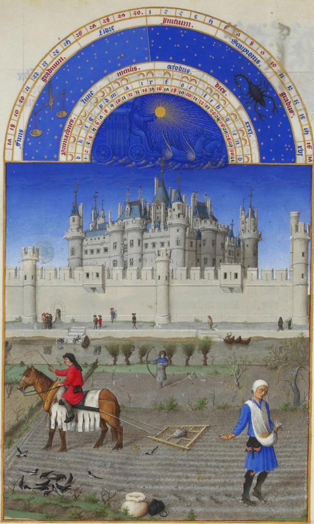 Les Tres Riches Heures du duc de Berry octobre: Limbourg brothers [Public domain].