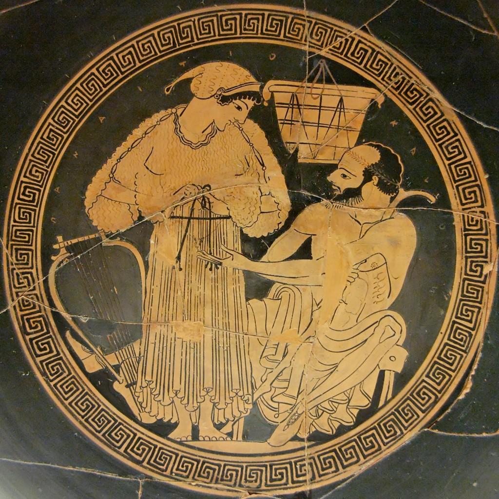 Greek courtesan engaging in precarious pleasures, Euphronios-potter, Onesimos-painter, British Museum.