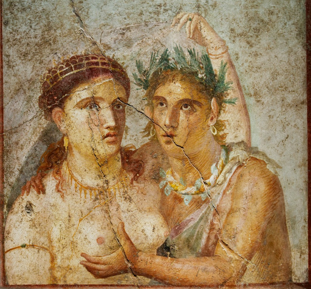 Satyr copping a feel, Pompeii fresco, Naples National Archaeological Museum.