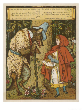 Little Red Riding Hood Meets the Wolf, Walter Crane (1845-1915).